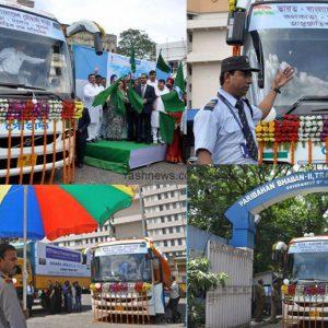 Trial run of Kolkata-Khulna (via Jessore) passenger bus service commences in Kolkata, on Aug 30, 2016